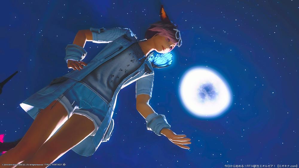 夜空の月を背景に立っているミコッテ。FF14コラボ、ルシス王子のジャケットを着ている。(FF14)