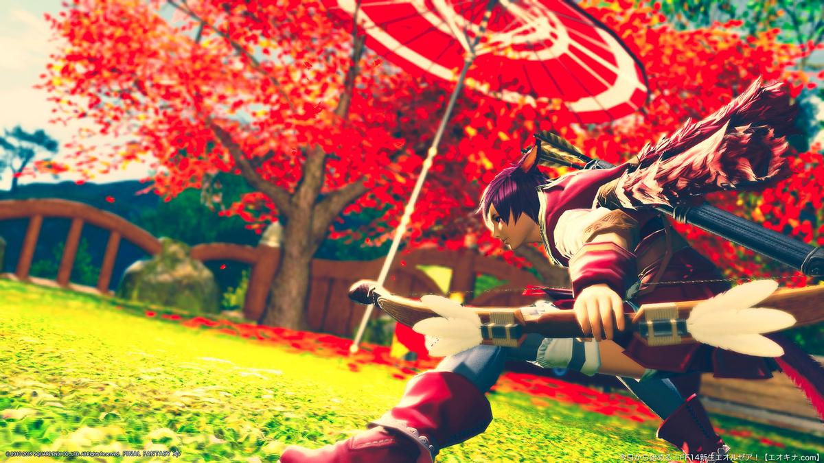 スプリガンの服を着たミコッテ弓術士(吟遊詩人)が矢を射ている。(FF14)