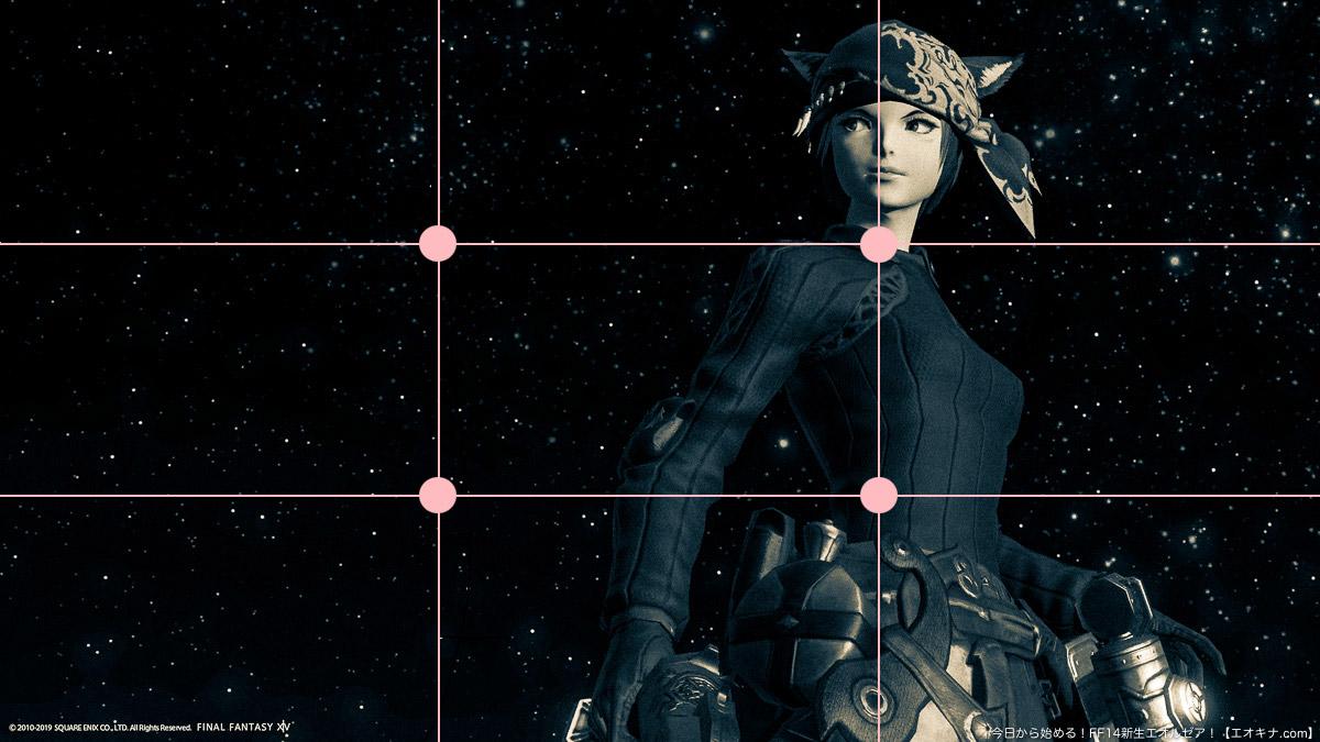 「3分割線上に配置した例」のスクリーンショットに、三分割のラインと、それぞれの交点を図示した画像。(FF14)