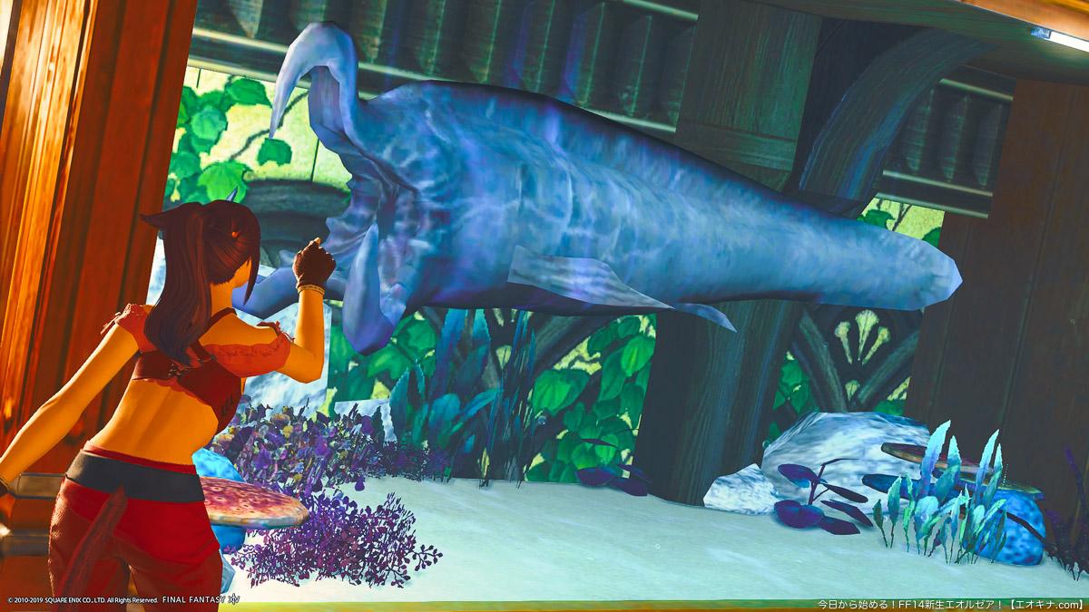 卓上調度品「アクアリウムG4」に入れて鑑賞することが出来るXLサイズの魚「シュリーカー」。グロテスクで怪魚といった見た目。(FF14)