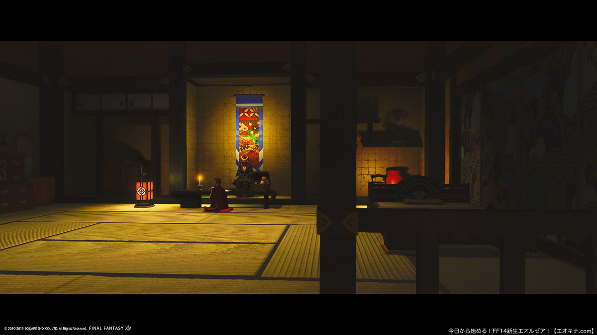 クガネの望海楼という宿屋の和室で正座をして座るミコッテ女性の後ろ姿。(FF14)