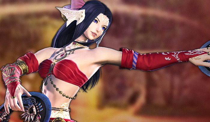 漆黒編で実装された新たな遠隔DPSジョブ「踊り子」のアウラ女性。(FF14)