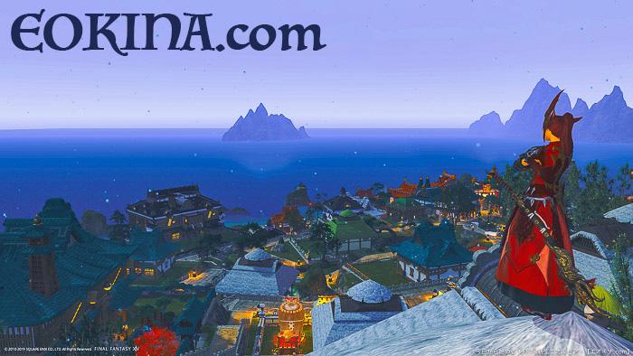ハウジングエリア「シロガネ」の街を高台から見下ろした風景。(FF14)