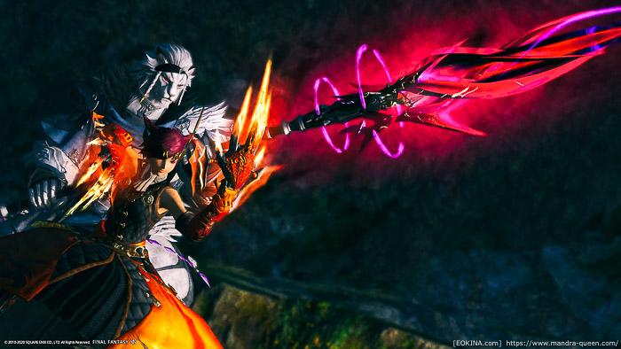 ゾディアックウェポン(ZW)ゼータを構えるミコッテ(モンク)とロスガル(竜騎士)。(FF14)