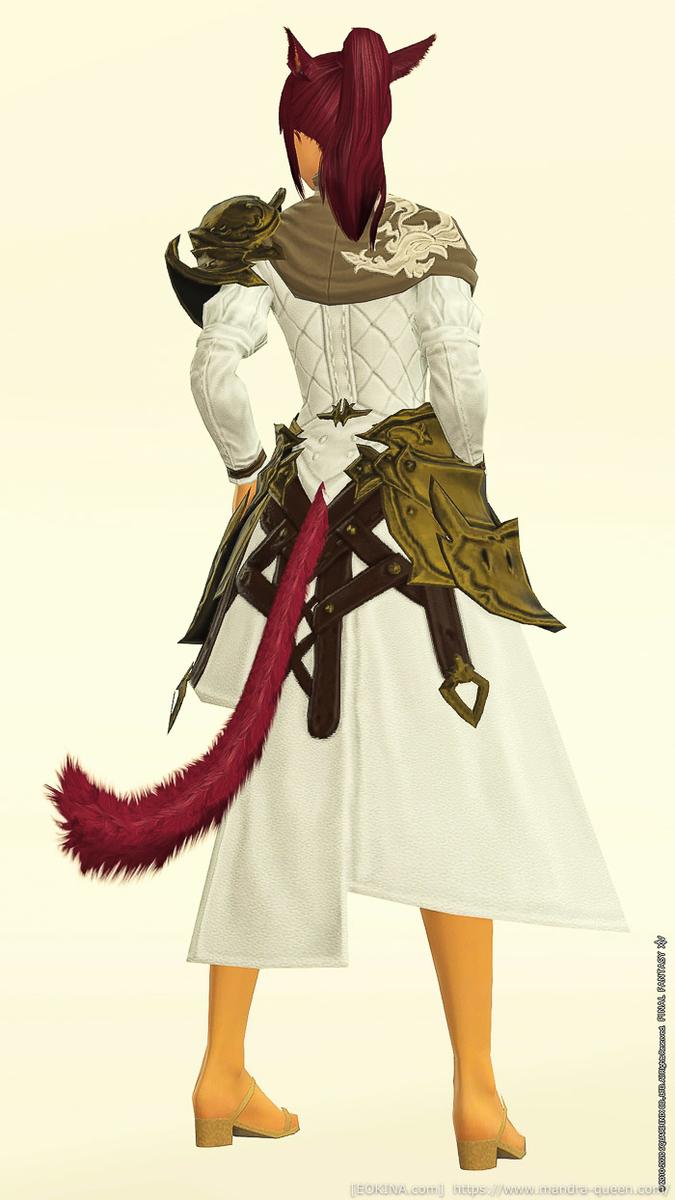 ピュアホワイトに染色したタイガーディフェンダーコートを来ているミコッテの背面画像。(FF14)