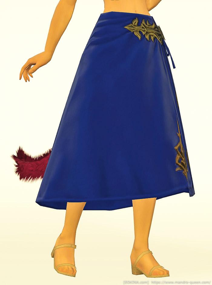 ロイヤルブルーに染色したクズクロス・ディフェンダーロングキルトを身に付けているミコッテの正面画像。(FF14)