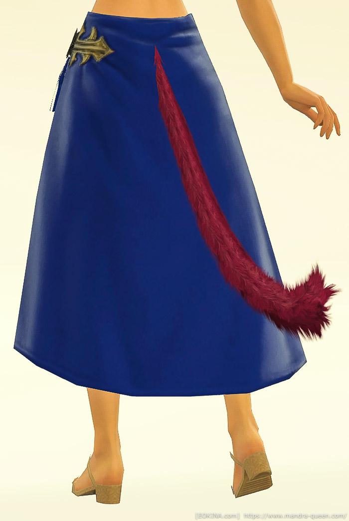 ロイヤルブルーに染色したクズクロス・ディフェンダーロングキルトを身に付けているミコッテの背面画像。(FF14)