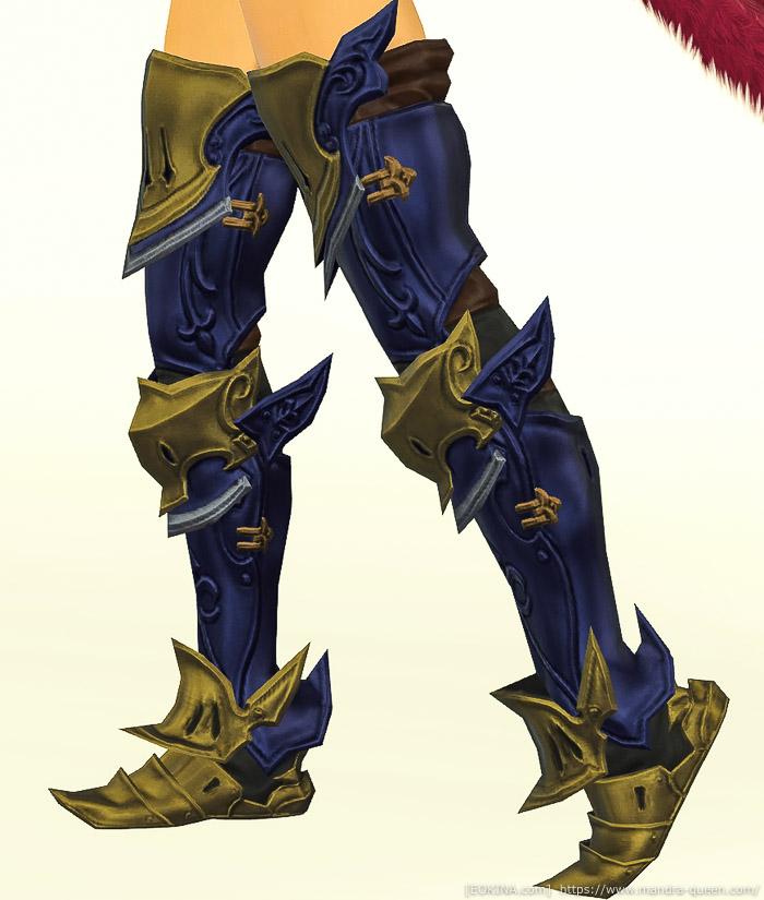 ミッドナイトブルーに染色したドマアイアン・ディフェンダーグリーヴを身に付けている画像。(FF14)