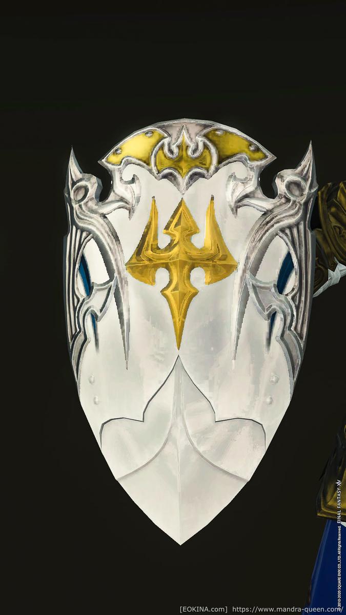 ナイトのレリックウェポンである、ホーリーシールド・アートマのクローズアップ画像。(FF14)