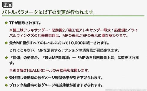 パッチ5.0でMPの上限が10,000固定となり、TPは廃止となったことをアナウンスしているパッチノート抜粋画像。(FF14)
