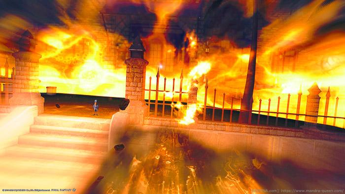 ミストヴィレッジの家が炎に包まれているように見え、そこに一羽のハシビロコウが佇んでいる。(FF14)