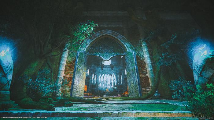 苔むすアムダプールで撮影した風景SS。静かでひんやりとした雰囲気が伝わる。(FF14)