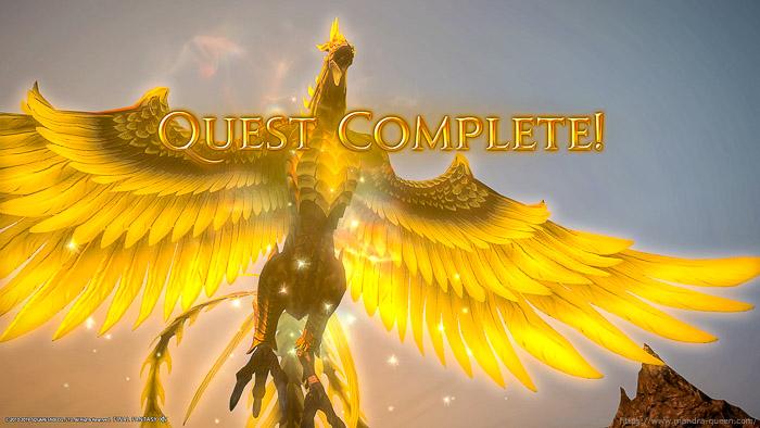 蒼天の極蛮神マウントを全て入手すると、手に入れることができる「鳳凰」のマウント。(FF14)