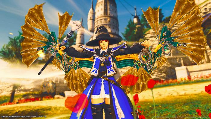 アレキの羽を纏った青魔道士のミコッテ。(FF14)
