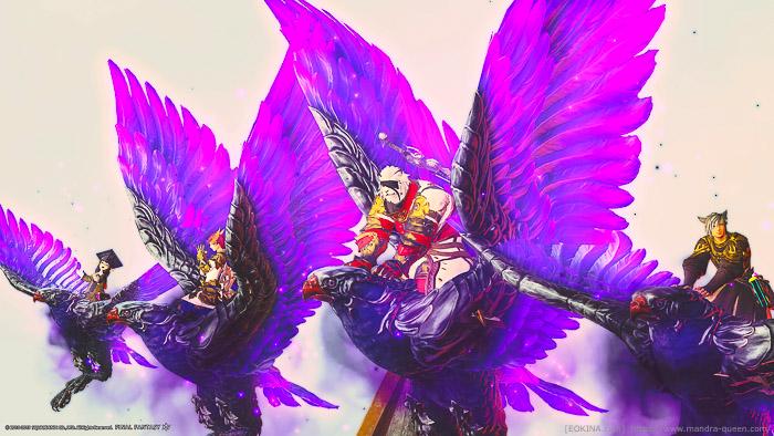 極ニーズヘッグで入手可能なマウント「ダークラナー」に騎乗している4人の冒険者。(FF14)