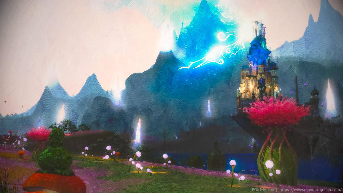 妖精郷イル・メグにて撮影した風景SS。落ち着いた絵画調になっている。(FF14)