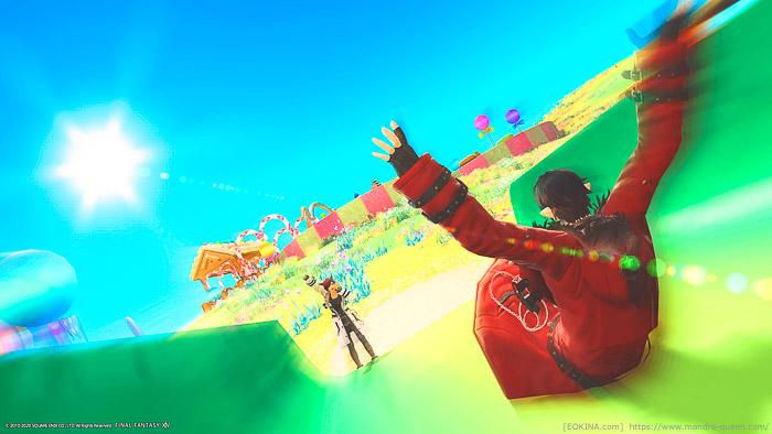 妖精郷イル・メグのリェー・メグで撮影した、遊園地デート風SS。滑り台を滑っているところ。(FF14)