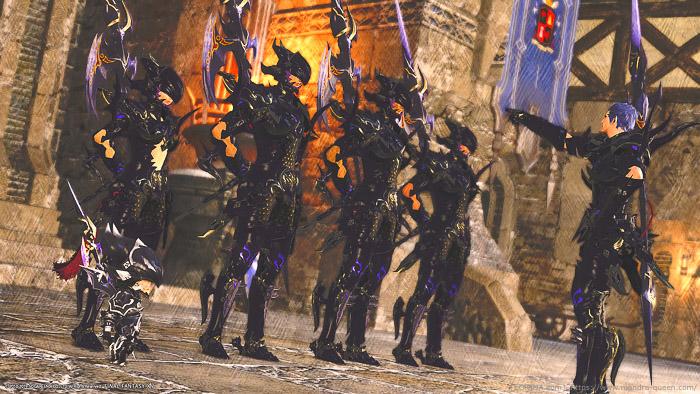 イシュガルドの竜騎士団に混じって並ぶ、竜騎士冒険者。(FF14)