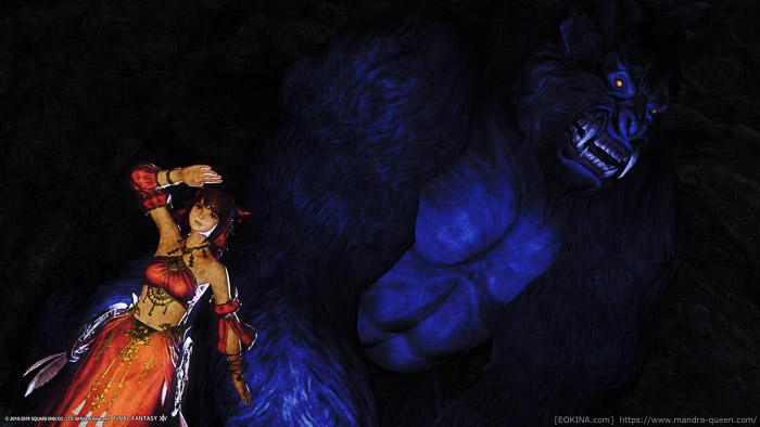 呑気に当たりを見回すミコッテの背後に、巨大なゴリラがうっすらと写っているちょっと怖いSS。(FF14)