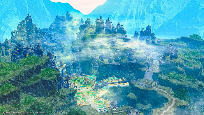 外地ラノシア、アイアンレイク付近を上空から眺めた風景SS。(FF14)