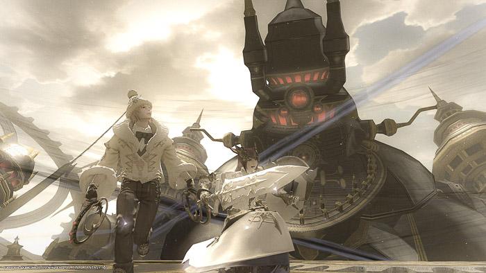 機工城アレキサンダー天動4の戦闘中に撮影したスクリーンショット。二人のミコッテがアレキを背景に走っている。(FF14)