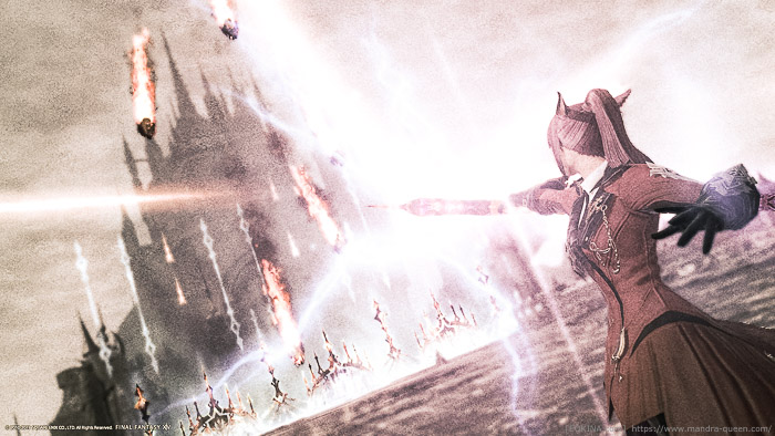 リミットブレイクを放つ赤魔道士の後ろ姿。色あせたノイジーな雰囲気のSS。(FF14)