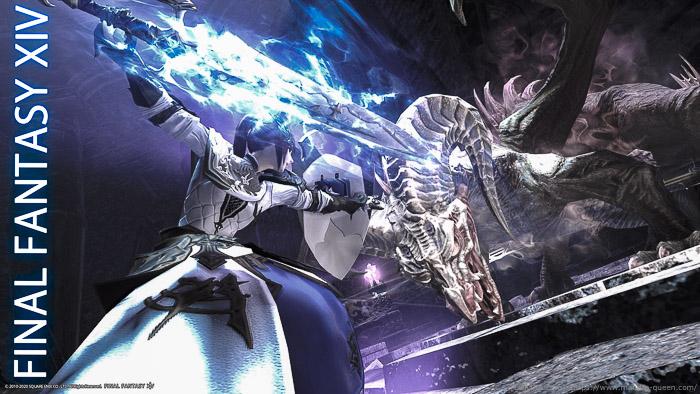 アムダプールに巣食うドラゴンと戦うミコッテナイト。ドラゴンの眉間に青く輝くコルタナを突き刺そうとしている。(FF14)