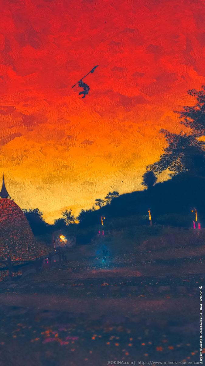 夕暮れのラベンダーベッドの大空を舞う竜騎士ミコッテ。(FF14)