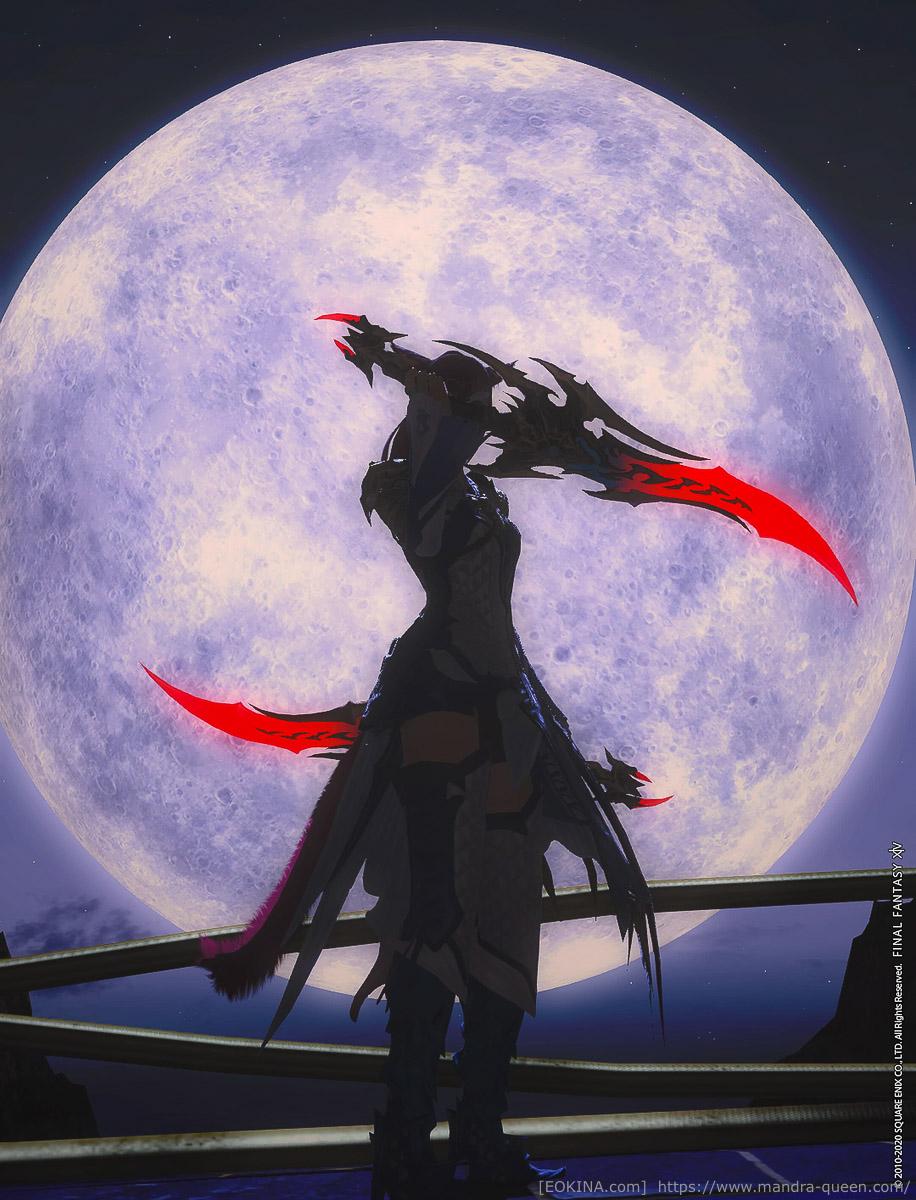 グループポーズで表現された色。被写体は大きな満月を背景に双剣を構えるミコッテ。ダンスカーにて撮影。