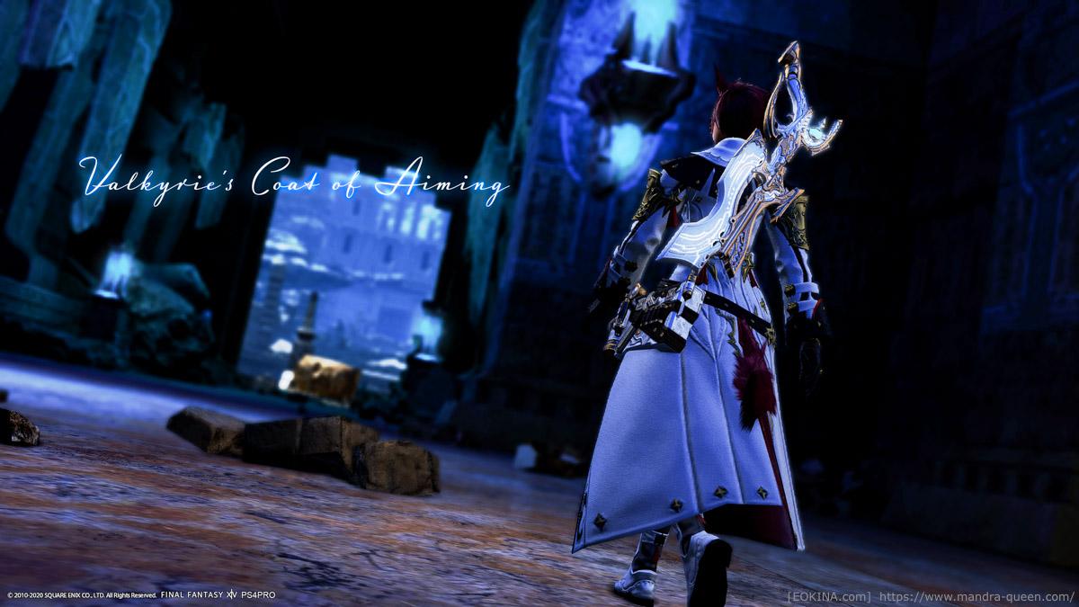 ヴァルキリー・レンジャーコートを着た機工士の後ろ姿。カルン埋没寺院の暗がりで撮影。