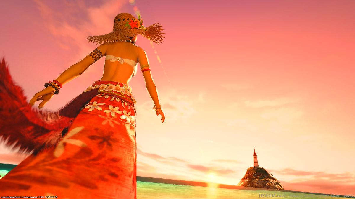 常夏のコスタ・デル・ソル」のSS。2020年の紅蓮祭の衣装を着たミコッテの後ろ姿と、朝焼けの景色。