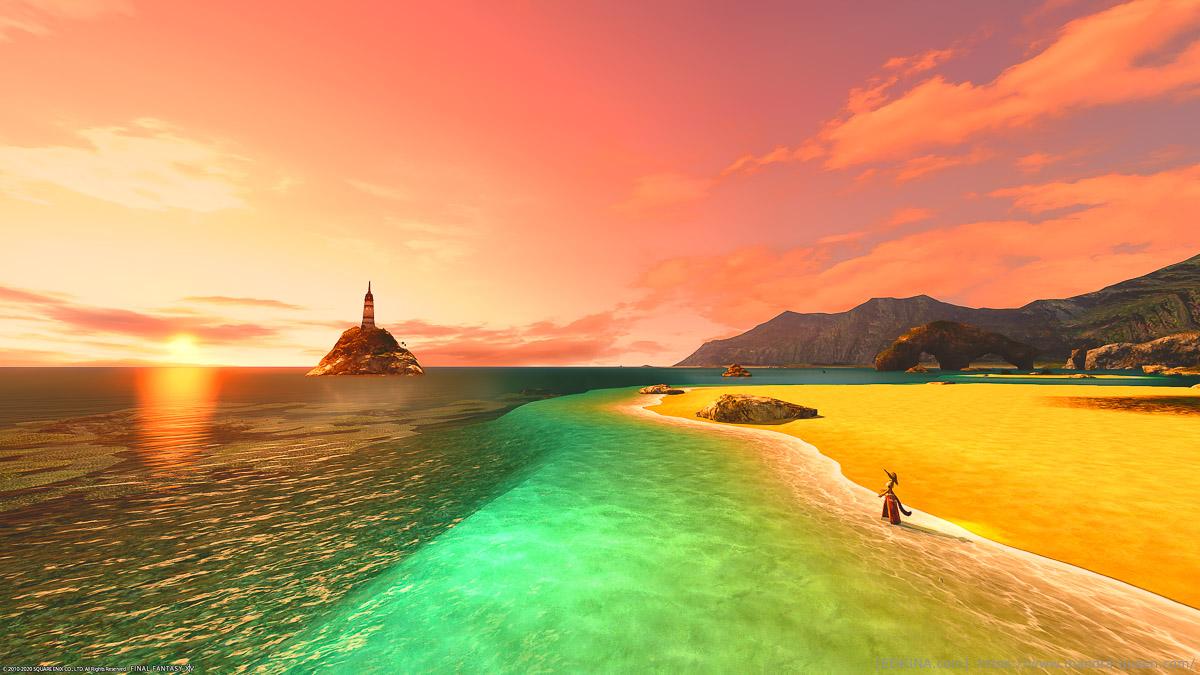 朝焼けに染まる空と海が美しい、コスタ・デル・ソルの風景スクリーンショット。