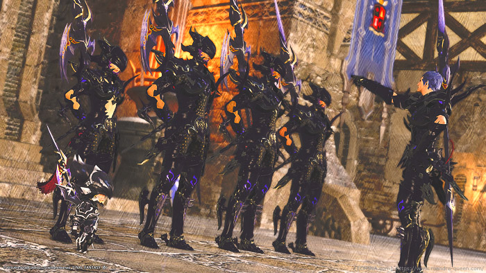 竜騎士のAF1「ドラケン」装備を身につけた冒険者と、竜騎士団の面々。