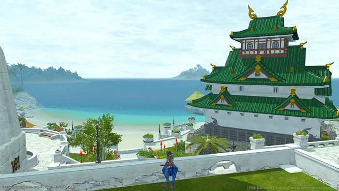 先ほどの7番地の隣の11番地から海側を撮影したスクリーンショット。やはり大半をお城が占めてしまっている。