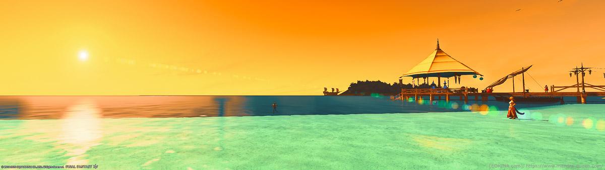 ウルトラワイドな視野で撮影されたハウジングエリア「ミストヴィレッジ」の浜辺。