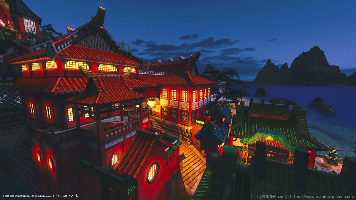 シロガネの商店街にある展望台から夜の商店街と空を撮影した画像。