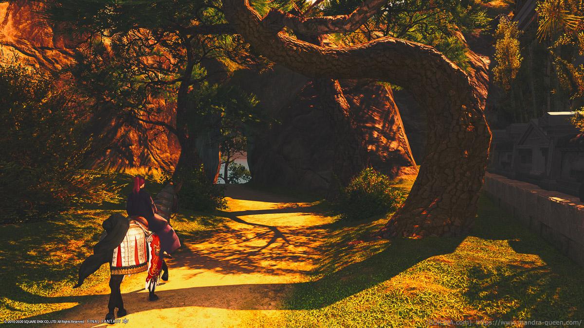シロガネの隠れ浜へ向かうための洞窟。夕暮れ時。
