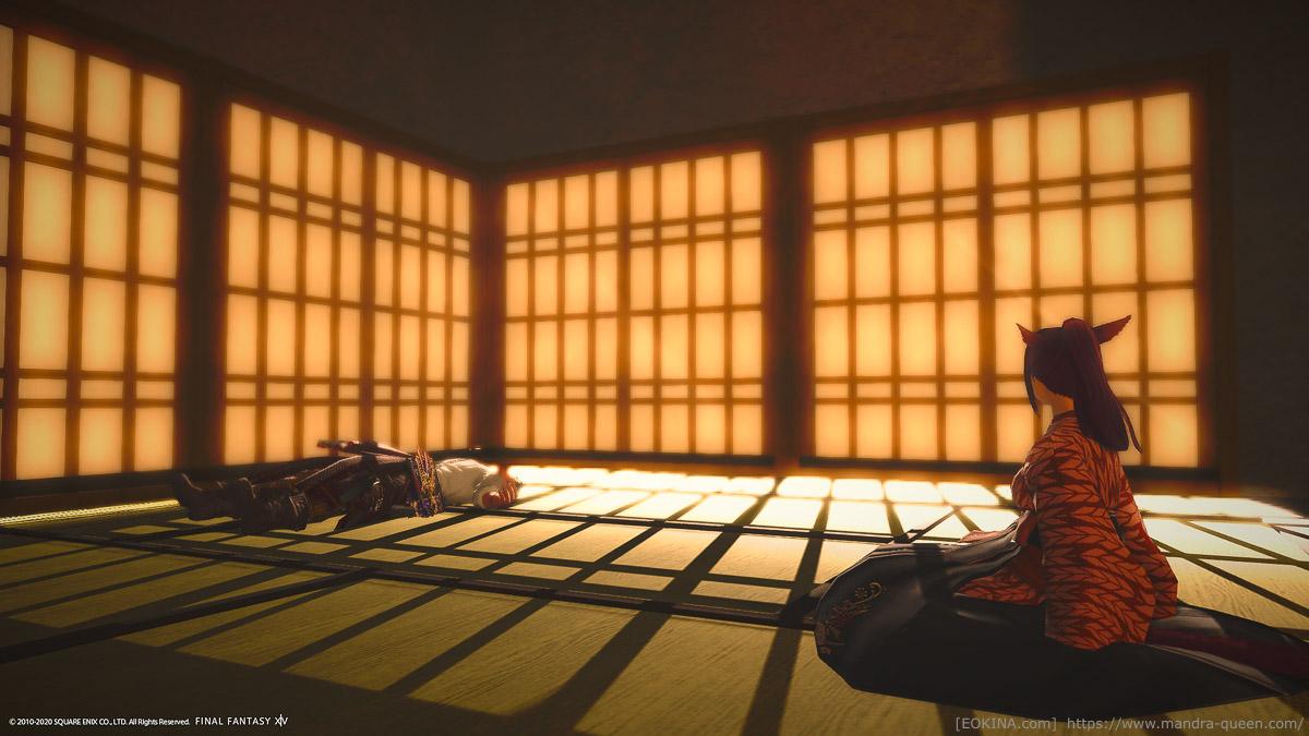 障子の枠が生み出す光と影の模様を楽しむハウジング。