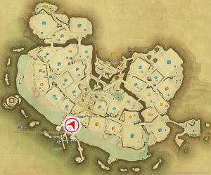 画像「商店街入口」を撮影した位置と向きを示したマップ。