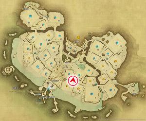 画像「路地裏の階段」を撮影した位置と向きを示したマップ。