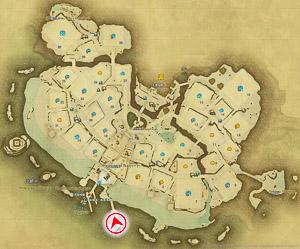 画像「海の上の橋」を撮影した位置と向きを示したマップ。