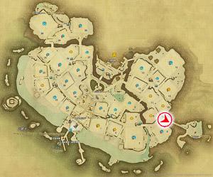 画像「隠れ浜への道」を撮影した位置と向きを示したマップ。