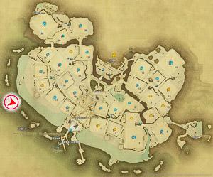 画像「夕焼けに染まるシロガネの街」を撮影した位置と向きを示したマップ。