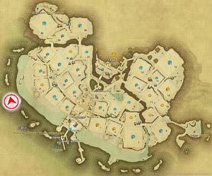 画像「海と岩山の壮大な景観も魅力」を撮影した位置と向きを示したマップ。