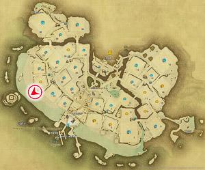 画像「静かな夜」を撮影した位置と向きを示したマップ。