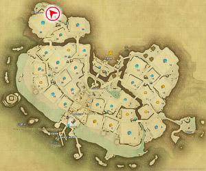 画像「狭い山道を歩く」を撮影した位置と向きを示したマップ。
