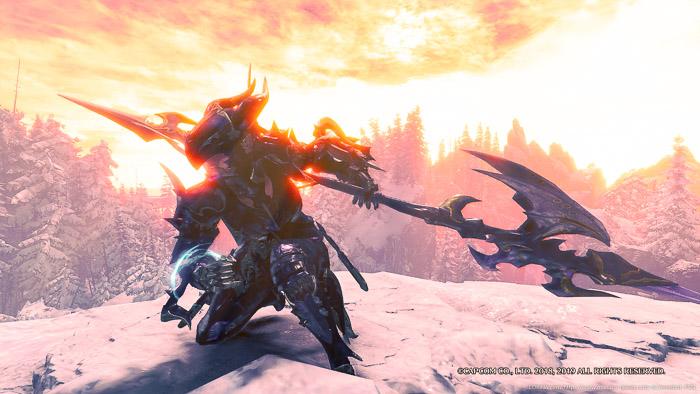 雪山で夕日を背景にポーズをとる竜騎士。