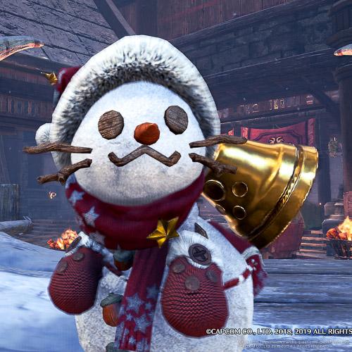 雪だるまの衣装を着たオトモアイルー