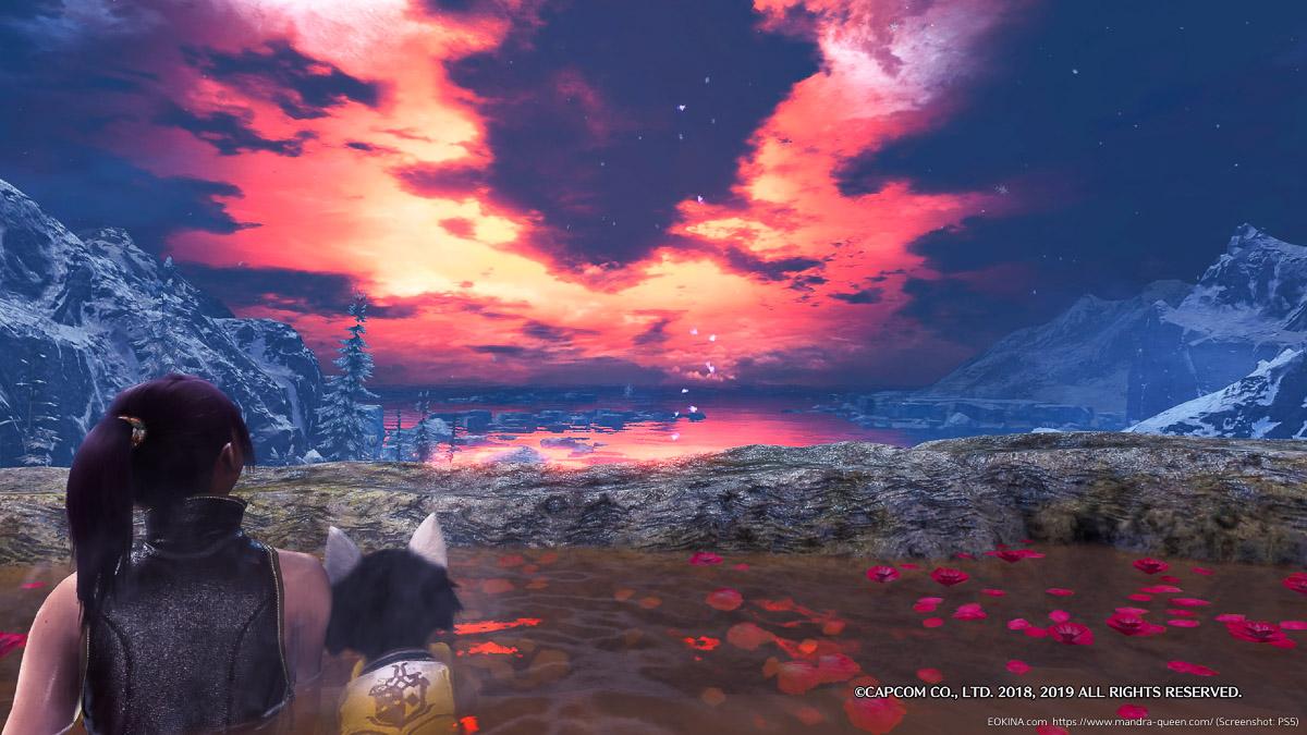 ハンターがオトモアイルーと一緒に温泉に入り、夕日を眺めている