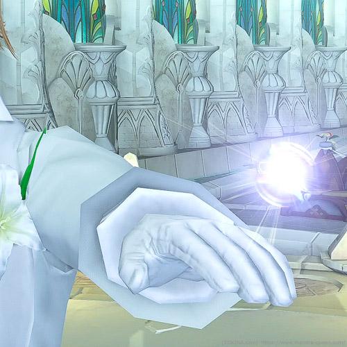手袋を装備した状態でエターナルバンドの指輪交換をしているシーン